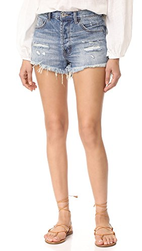 One Teaspoon Women's Outlaws Shorts, Johnnie Blue, 24 by One Teaspoon