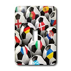3dRose LLC lsp_155022_1 England Germany Portugal Spain, Dm, Czech Republic Italy France Greece Ukraine Flags On Soccer Balls Single Toggle Switch by 3dRose