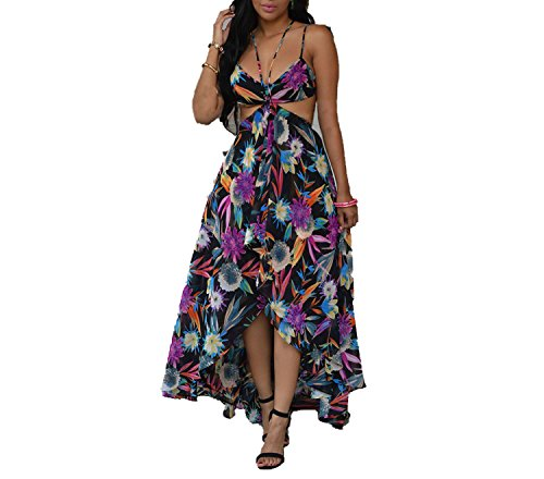 Explosion Models Suspenders Printed Dress Bohemian Sexy Backless