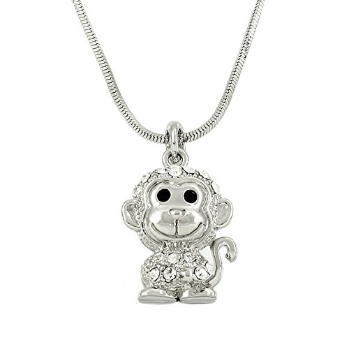 Falari Monkey Pendant Necklace Rhinestone Crystal Rhodium High Polished J0005