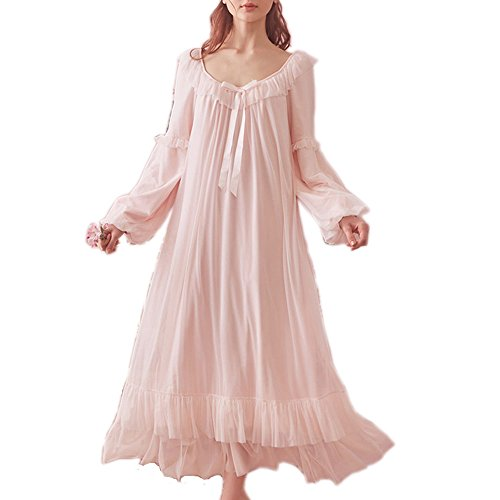 SINGINGQUEEN Women's Vintage Victorian Nightgown Long Sleeve Sheer Sleepwear Pajamas Lace Nightwear Robe (Large, Pink)