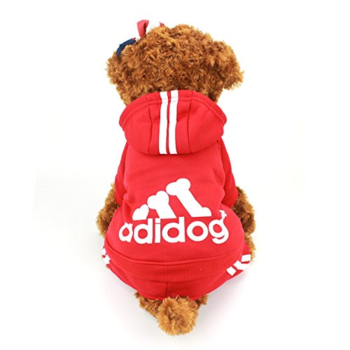 Idepet(TM) Adidog Pet Dog Cat Clothes 4 Legs Cotton Puppy Hoodies Coat Sweater Costumes Dog Jacket (XS, (Costumes For Puppies)