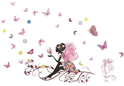 SWORNA Nature Series Flower Butterfly Girl Growing Branch Removable Vinyl DIY Wall Art Mural Sticker Decal Decor - Living Room/Play/Bedroom/ Hallway/Kindergarten/Home Office Nursery/School 32H X 47W