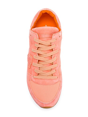 Philippe Model Dames Trldnd01 Oranje / Wit Lederen Sneakers
