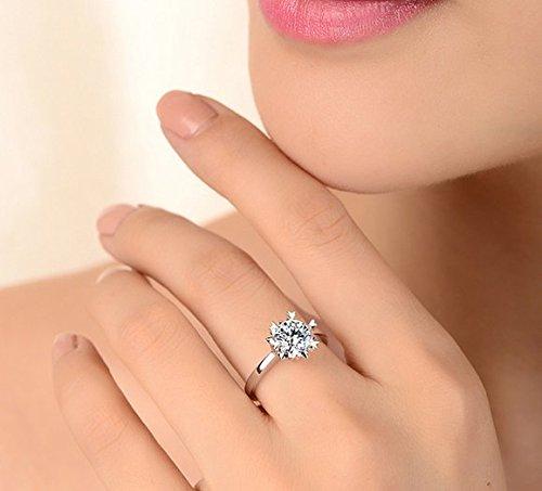 Gowe Luxe 100% authentique 18K Or Blanc solide Femme Charles Bagues de fiançailles Forever brillant 1carat Saint Valentin Jour Cadeau