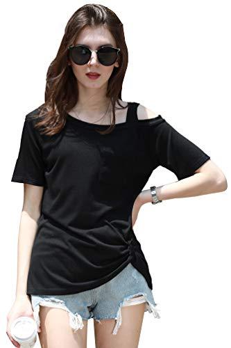 Supre Lee Women's Short Sleeve Cold Shoulder Tops Summer Casual T-Shirt Black M ()