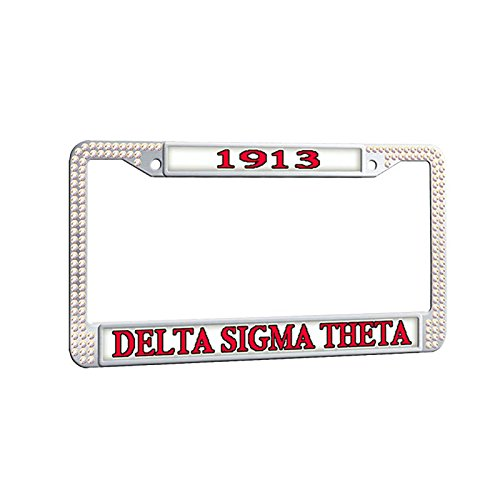 (Delta Sigma Theta License Plate Frame,Sorority White Rhinestones Car Plate Frame Waterproof Car tag Frame)