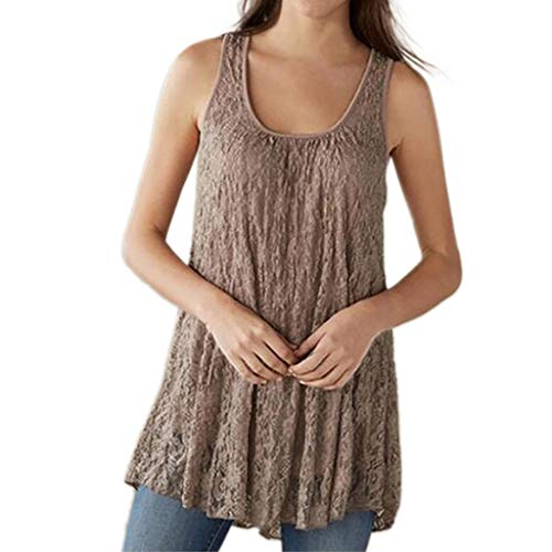 Tank Tops for Women, Plus Size Fashion Lace Sleeveless O-Neck Summer Tops Mesh Blouses Beige