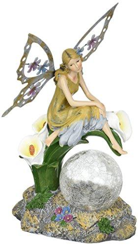 Calla Lily Garden Glass - Solaration8482; Fairy on Calla Lilies Solar Light with Crackle Glass Globe, 11-Inch