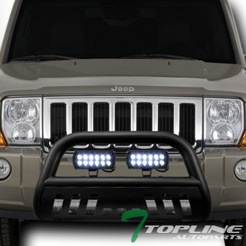 Topline Autopart Matte Black Bull Bar Brush Push Bumper Grill Grille Guard With Skid Plate + 36W CREE LED Fog Lights For 05-07 Jeep Grand Cherokee ; 06-10 -