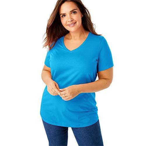 (Woman Within Women's Plus Size Perfect V-Neck Tee - Blue Splash, 1X)