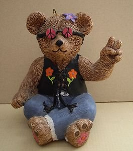 Claire's Teddy Bear Ornament Blue Jean Peace Sign Bear 1997