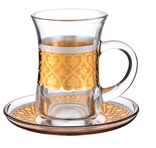 (Cup & Saucer Set Turkish Tea Coffee Glass Gold Color Design 12 Pieces (GOLD 3))