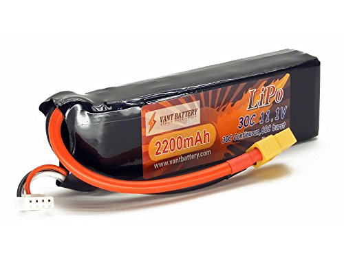 - 11.1V 2200mAh 3S Cell 30C-60C LiPo Battery Pack w/ XT60 XT-60 Connector Plug (Airplane Helicopter Quadcopter Multirotor Drone UAV FPV 3S2200-20D EFLB22003S30)