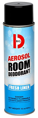 Big D 430 Aerosol Room Deodorant, Fresh Linen Fragrance, 15 oz (Pack of 12) - Industrial strength handheld air freshener ideal for restrooms, offices, schools, restaurants, hotels, (Aerosol Room Deodorant)