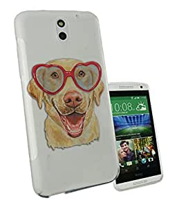 c0295 - Cool Cute fun labrador dog funny heart glasses love pet illustration doodle art kawaii Design htc Desire 620 Fashion Trend CASE Gel Rubber Silicone All Edges Protection Case Cover
