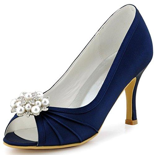 ElegantPark EP2094AE Mujer Peep Toe AE Desmontable Zapatos Clips Zapatillas El tacón alto Satén Baile Zapatos de Boda Azul Marino