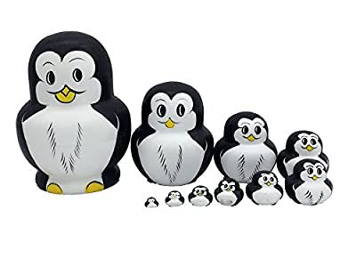 xqing 10pcs Hand-Painted Russia Matryoshka Doll Mini Animal Nesting Doll Set Lovely Penguin for Kids Girl Christmas Birthday Gifts Home Decorations White Black
