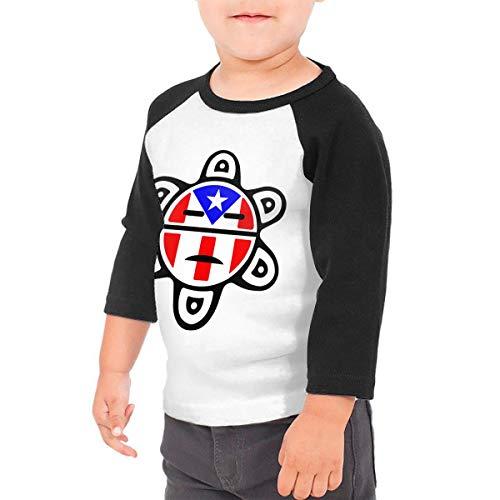 (Puerto Rico Flag Sun Tribal Sol Taino Kids Raglan 3/4 Sleeves Baseball Tee Toddler Jersey Black)