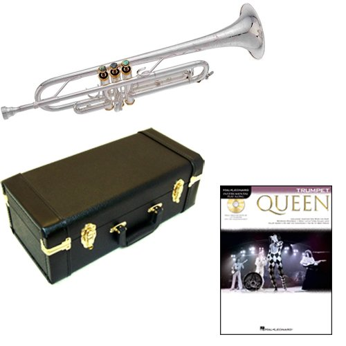 Queen Bb Silver Plated Trumpet Pack - Includes Trumpet w/Case & Accessories & Queen Play Along Book by Trumpet Play Along Packs