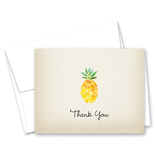 50 Rustic Watercolor Pineapple Thank You Cards + Envelopes]()