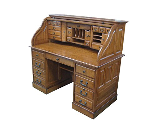 Chelsea Home Furniture Marlin 54' Deluxe Roll Top Desk, 49' H x 54' W X 28.5' D, Burnished Walnut