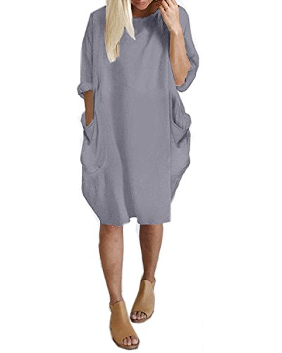 Kidsform Women's Tunic Dress Long Sleeve Oversize Baggy T Shirt Causal Loose Party Short Midi Dresses with Pockets Grey S
