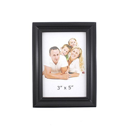 Classic Rectangular Wood Desktop Family Picture Photo Frame with Glass Front (Black, 3X5 Style 2) - Antique 3 X 5 Picture Frames