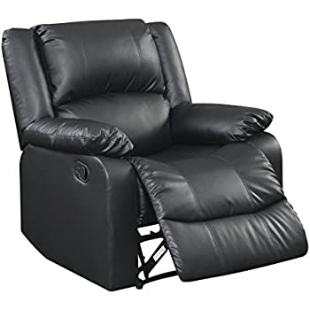 Warren Reclining Chair Black  sc 1 st  Amazon.com & Amazon.com: Bonded Leather Rocker Recliner Living Room Chair ... islam-shia.org