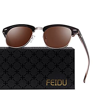 FEIDU Retro Polarized Clubmaster Sunglasses for Men Half Metal Women FD3030