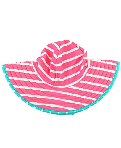Extra Bold Caps (RuffleButts Infant/Toddler Girls Reversible Polka Dot Swim Hat - Candy/Aqua - 0-12m)