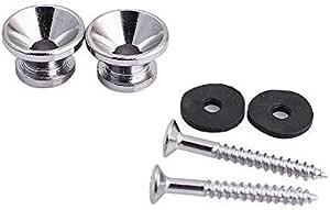 2x Guitar Pegs Anti-slip Strap Buckle Locking Pin for Bass Ukulele NE Silver