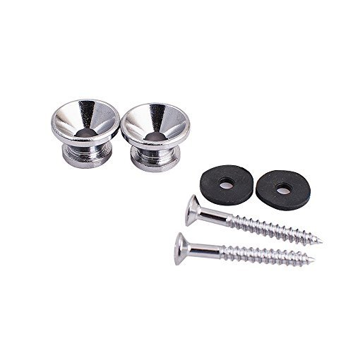 Buttons Guitar Part - 2pcs Silver Metal Strap Lock Buttons End Pins with Mounting Screws For Electric Acoustic Guitar Bass Ukulele