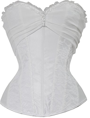 Vinyl Waist Cinch (Vacodo Women's Crystal Lace Overlay Mesh Overbust Corset Top (Large, White))