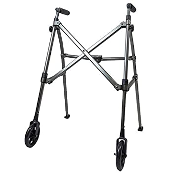 Image of Able Life Space Saver Walker, Lightweight Folding 2 Wheeled Walker, Height Adjustable Portable Walker with Fixed Wheels for Seniors, Black Walnut Health and Household