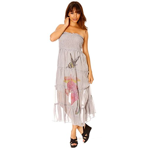 Miss Wear Line - Robe bustier gris longue à motif fleur