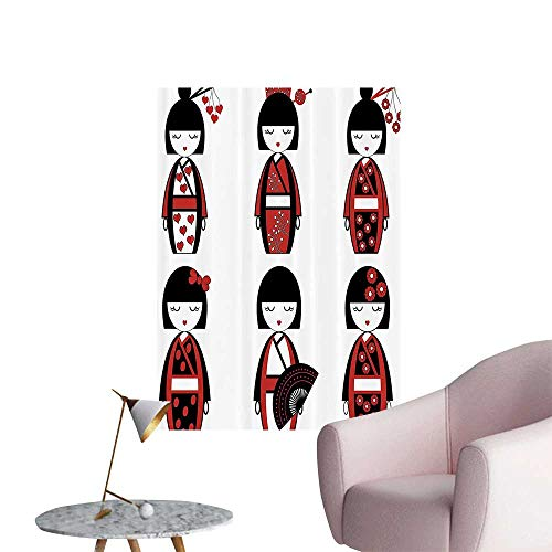 Wall Decals Unique Asian Geisha Dolls in Folkloric Costumes Outfits and Hair Sticks Kimo Environmental Protection Vinyl,24