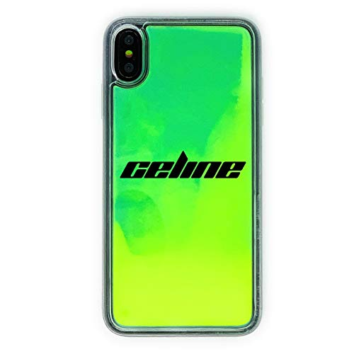 MARBLEFY Personalized Neon Green Yellow Liquid Sand case for iPhone Xs/Xr/Max/8/7/6/Plus Protective Glow in the Dark Waterfall Retro 90s sturdy hard case (Glow In The Dark Phone Case Iphone 6)