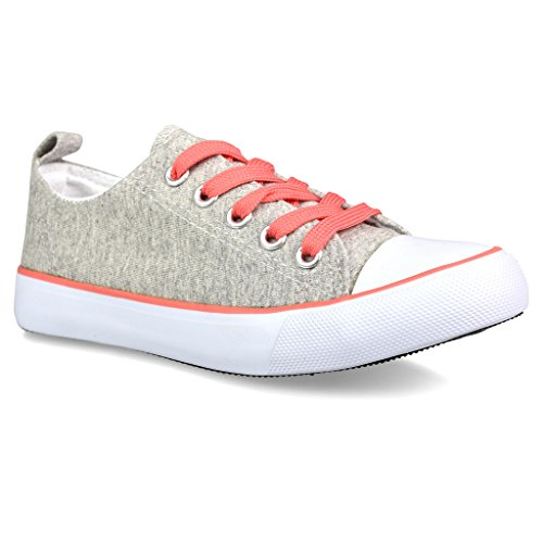 Twisted Girl's Canvas KIX Lo-Top Sneaker - GREY/CORAL, Size 13