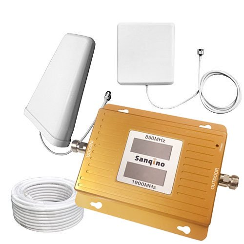 Sanqino Home 2g/3g/4g Dual Display Cell Phone Signal Booster 850MHz/1900MHz Dual Band Mobile Repeater For 2g/4g Verizon,Sprint,U.S. Cellular 2g/3g/4g T-Mobile,ATT (T Mobile Phones 4g)