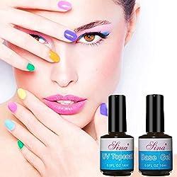 ❀Jinjiu nail art❀,1Pcs/2 Pcs Top noble classical Coat + Base Coat Uv Diamond Nail Gel Polish Primer Nail Art (A)