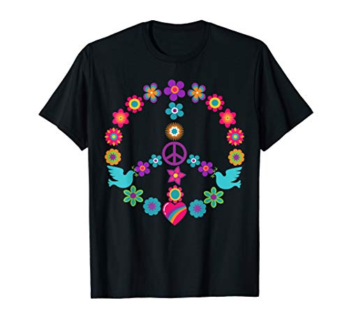 - Peace Sign T-Shirt 60s 70s Flowers Dove Hippie Shirt Gift