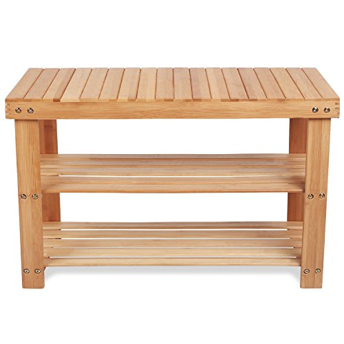 Homfa 100% Natural Bamboo Shoe Bench 2 Tier Woo...