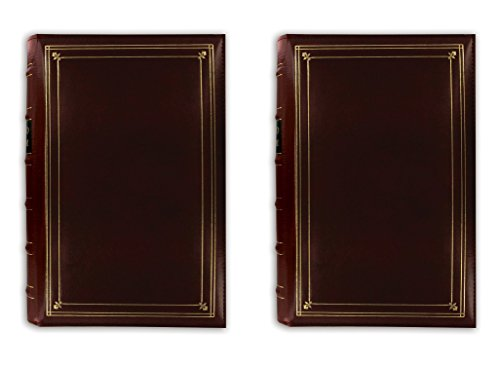 Pioneer Photo 204-pocket Ring Bound Photo Album for 4 By 6-inch Prints, Burgundy Bonded Leather with Gold Accents Cover 2 Pack