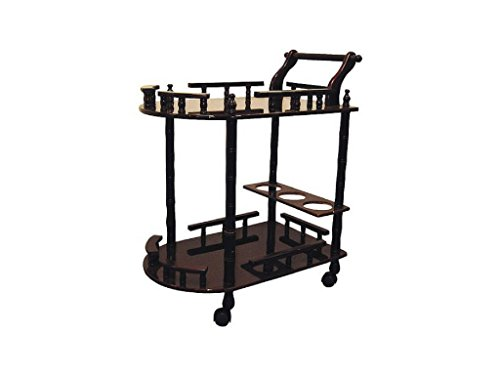 New Wood Composite Transitional 2-Tier Wine Table Serving Cart, Cherry