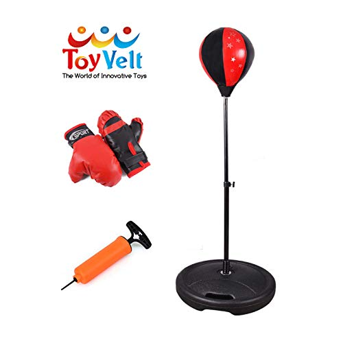 ToyVelt Punching Bag for Kids - Boxing Set Incl Gloves, Punching Bag with Stand and a Pump - Height Adjustable Base, Easy Setup & Portable Design Idea for Boys and -