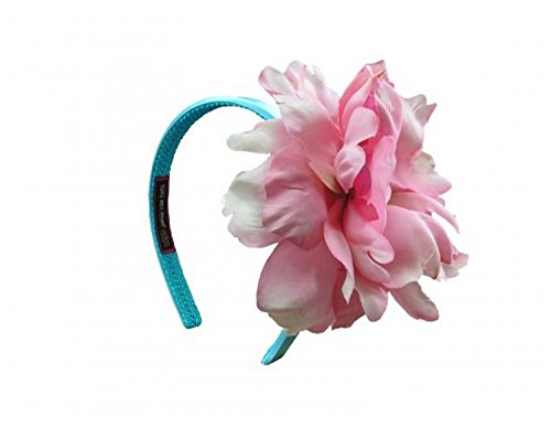 Jamie Rae Hats Teal Hard Headband with Candy Pink Large Peony, One Size