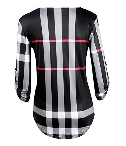 Dame col Femme 4 Elgante Loose Tops Manches DoubleYI Chemisier Casual 3 Carreaux Noir V HwSFqY