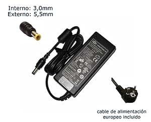 """Cargador de portátil Samsung 19v 3.16a AD-6019 AD-6019R CPA09-004A PSCV600/04A Alimentación, adaptador, Ordenador Portatil transformador - Marca """"Laptop Power""""® (12 meses de garantía y cable de alimentación europeo incluido)"""