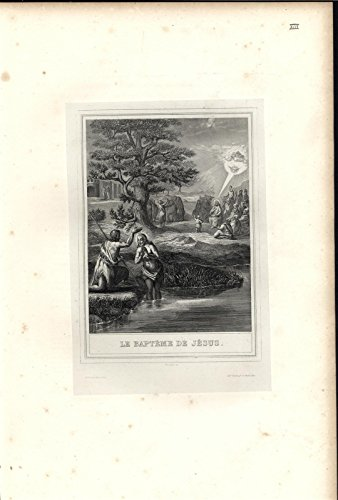 (John Baptizing the Savior Life Jesus Christ 1853 scarce old big engraved print)